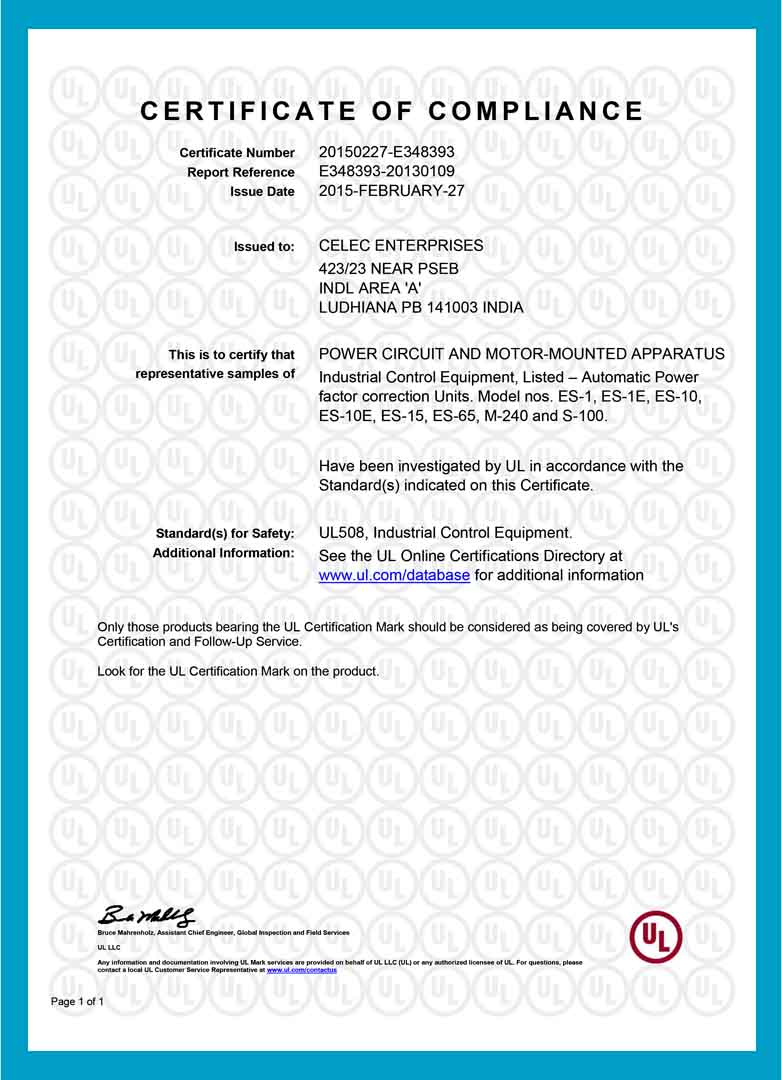 Certificates celec ul listed ce approved iso verified first company in asia to awarded with prestigious ul listing with in house laboratory facilities for live testing upto 500 kvar capacitor panels xflitez Gallery